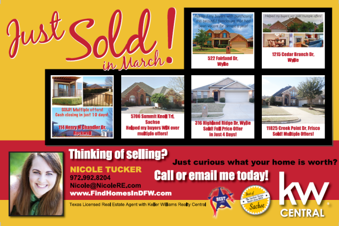 Homes Sold by Nicole Tucker in March 2015